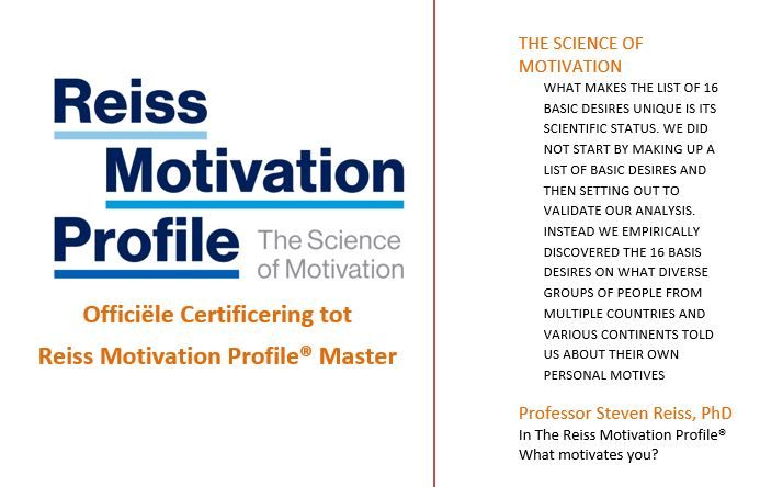 Certificering tot Reiss Motivation Profile® Master 2/3